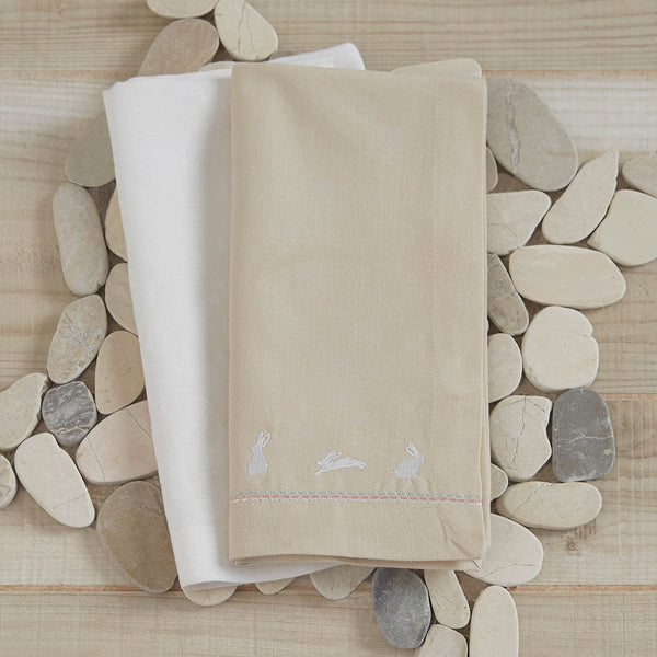 Set of 4 Bunny Napkins, Pebble