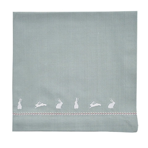 Set of 4 Bunny Napkins, Blue Mist
