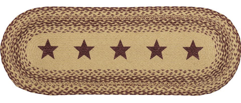 "Burgundy Tan Jute RunnerStencil Stars Table Runner 13""x36"""