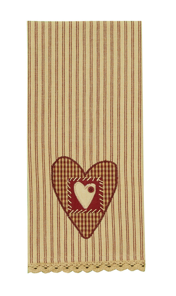 Button Heart Applique Tea Towel