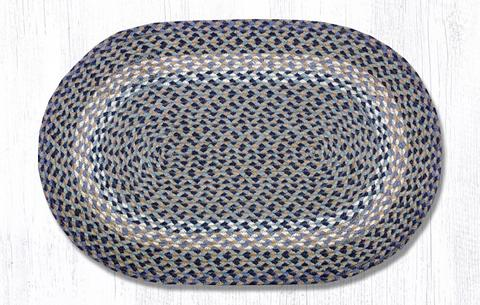 "Blue/Natural Braided Oval Rug 20""x 30"""