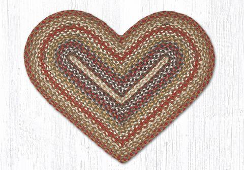 "Vanilla/Ginger Braided Heart Rug 20"" x 30"""
