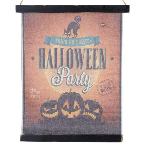 Halloween Party Fabric Hanging Sign