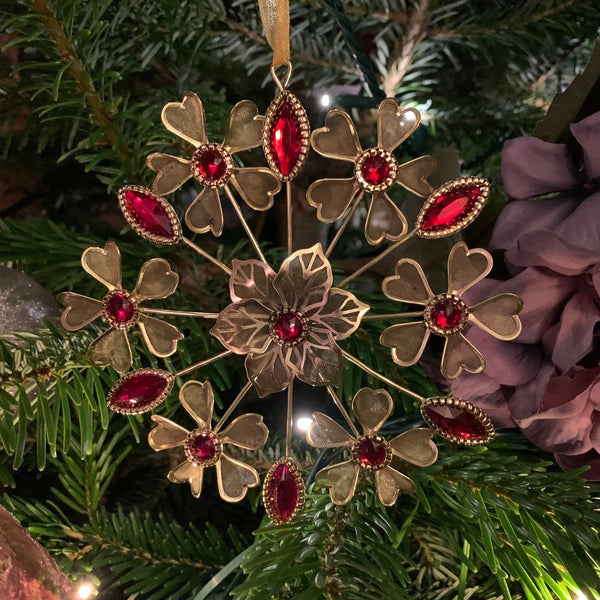 "6"" Gold Metal Filigree Ornament with Red Jewels - Multi Floral"