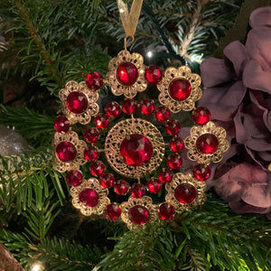 "6"" Gold Metal Filigree Ornament with Red Jewels - Circle"