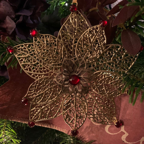 "6"" Gold Metal Filigree Ornament with Red Jewels - Single Flower"