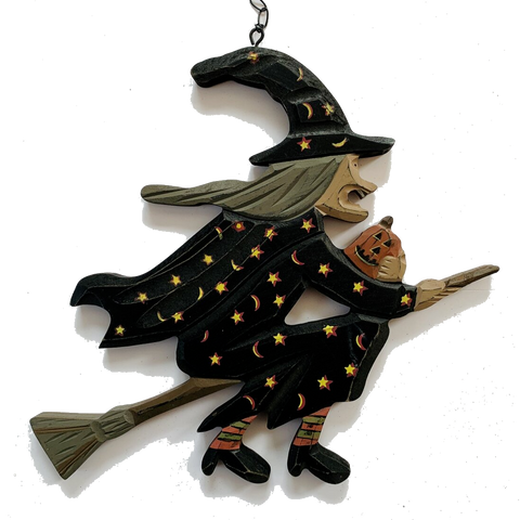 Carved Wooden Flying Halloween Witch on a Broomstick