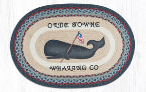 "Folk Art Whale Braided Oval Rug 20""x 30"""