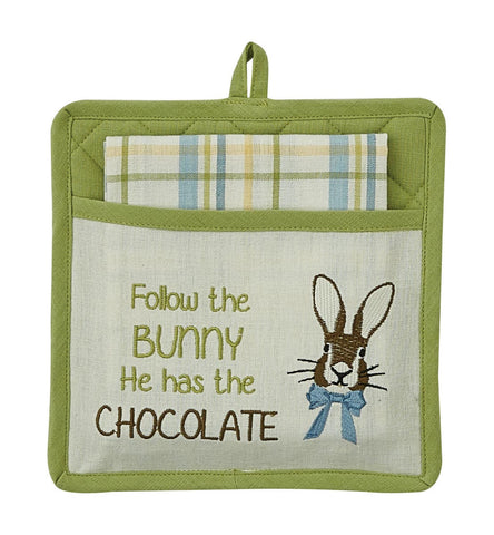 Follow the Bunny Potholder & Tea Towel Set