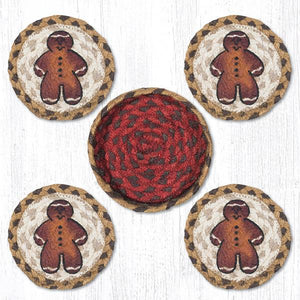 GINGERBREAD MAN BRAIDED COASTER SET