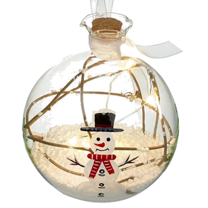 Glass LED Bauble With Snowman