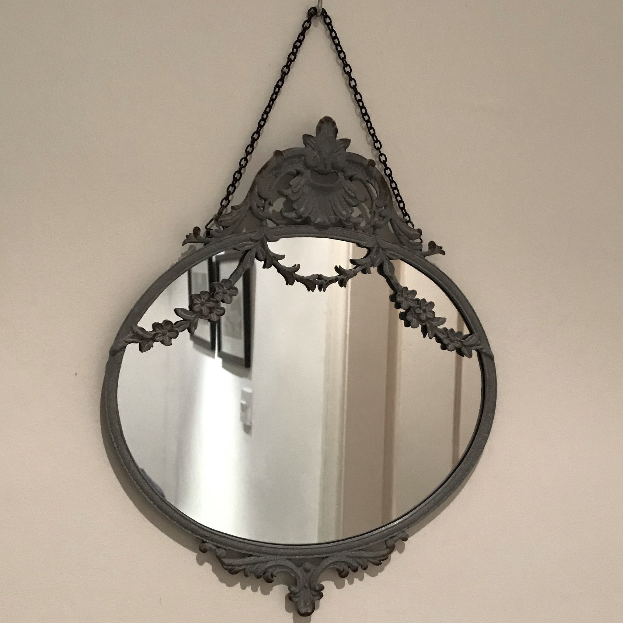 Small Grey Metal Swags Mirror