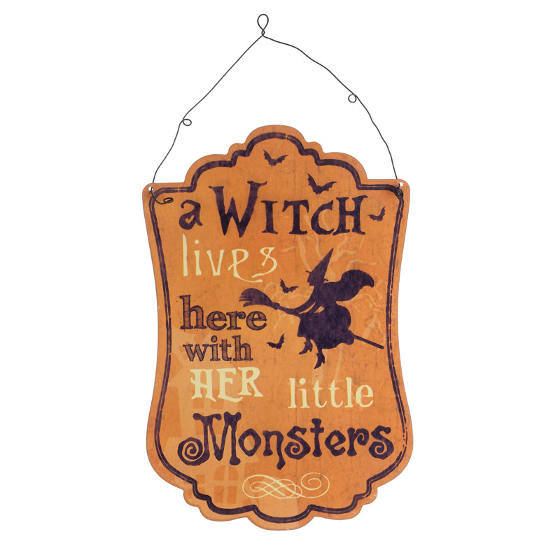 Halloween Metal Sign, A Witch Lives Here