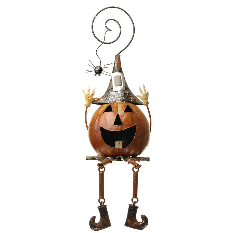 Large Sitting Halloween Metal Pumpkin Tealight Holder with Dangly Legs