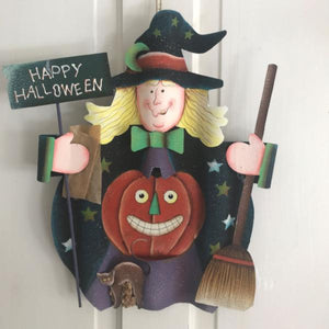 Metal Happy Halloween Witch & Pumpkin Plaque