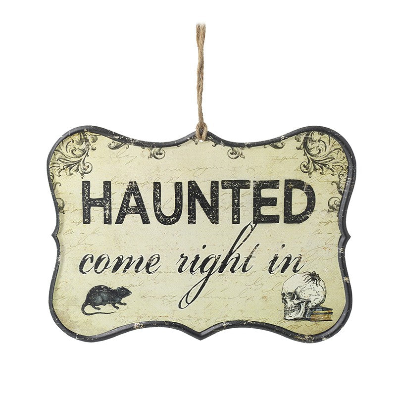 """Haunted Come Right In"" Metal Halloween Sign"