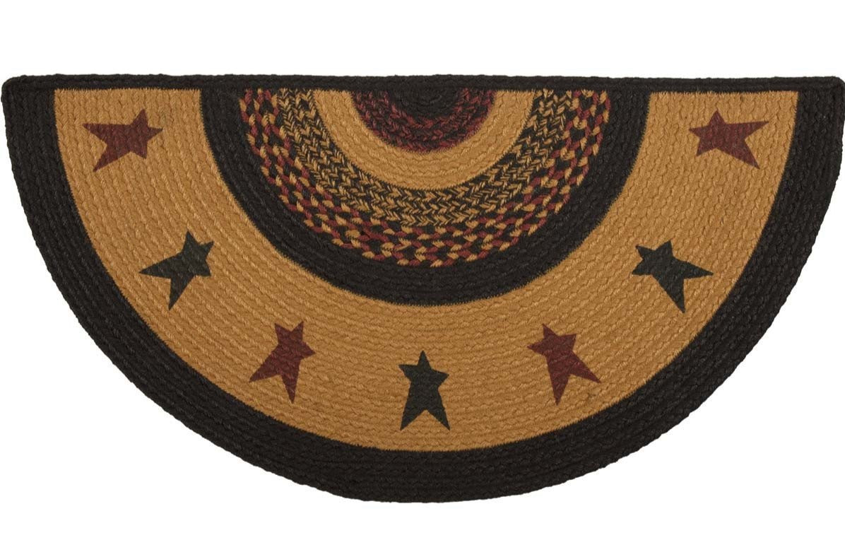 Heritage Farms Star Jute Half Circle Rug 16.5x33""