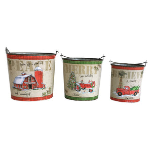 Set of Three Festive Buckets