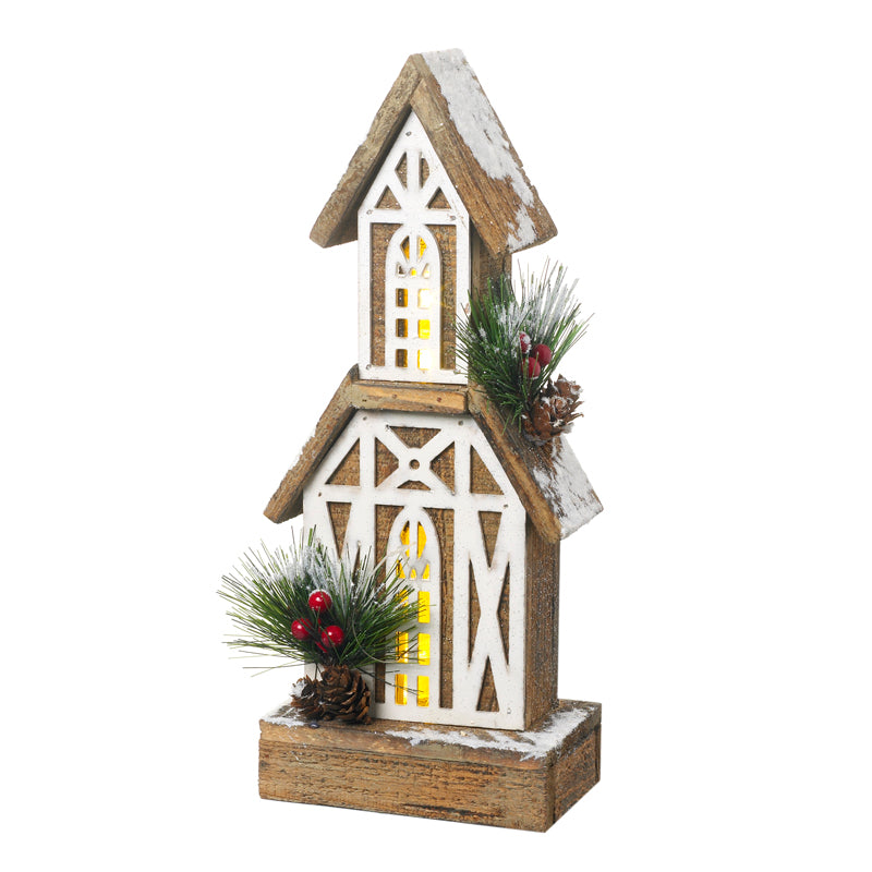 Tall Wooden Christmas House with LEDs