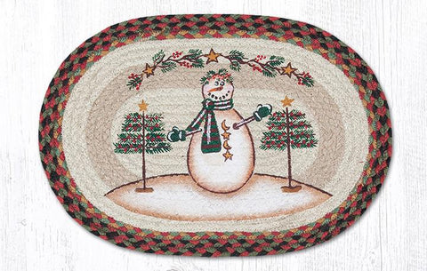 Moon & Star Snowman Oval Braided Tablemat 13x19""