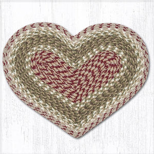 Olive/Burgundy/Gray Heart Tablemat 12x17""