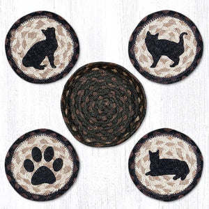 Porch Cat Braided Coaster Set