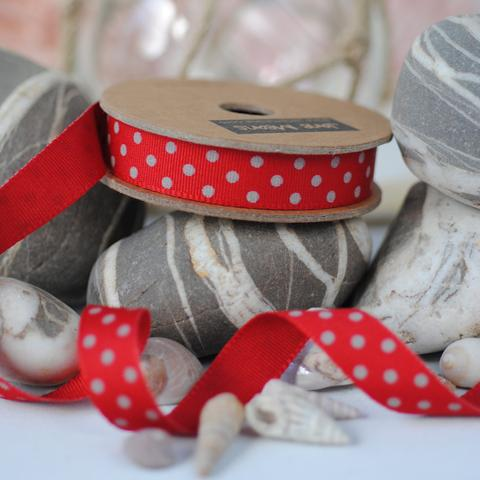 Red and Grey Spotty Ribbon, 3 Metres