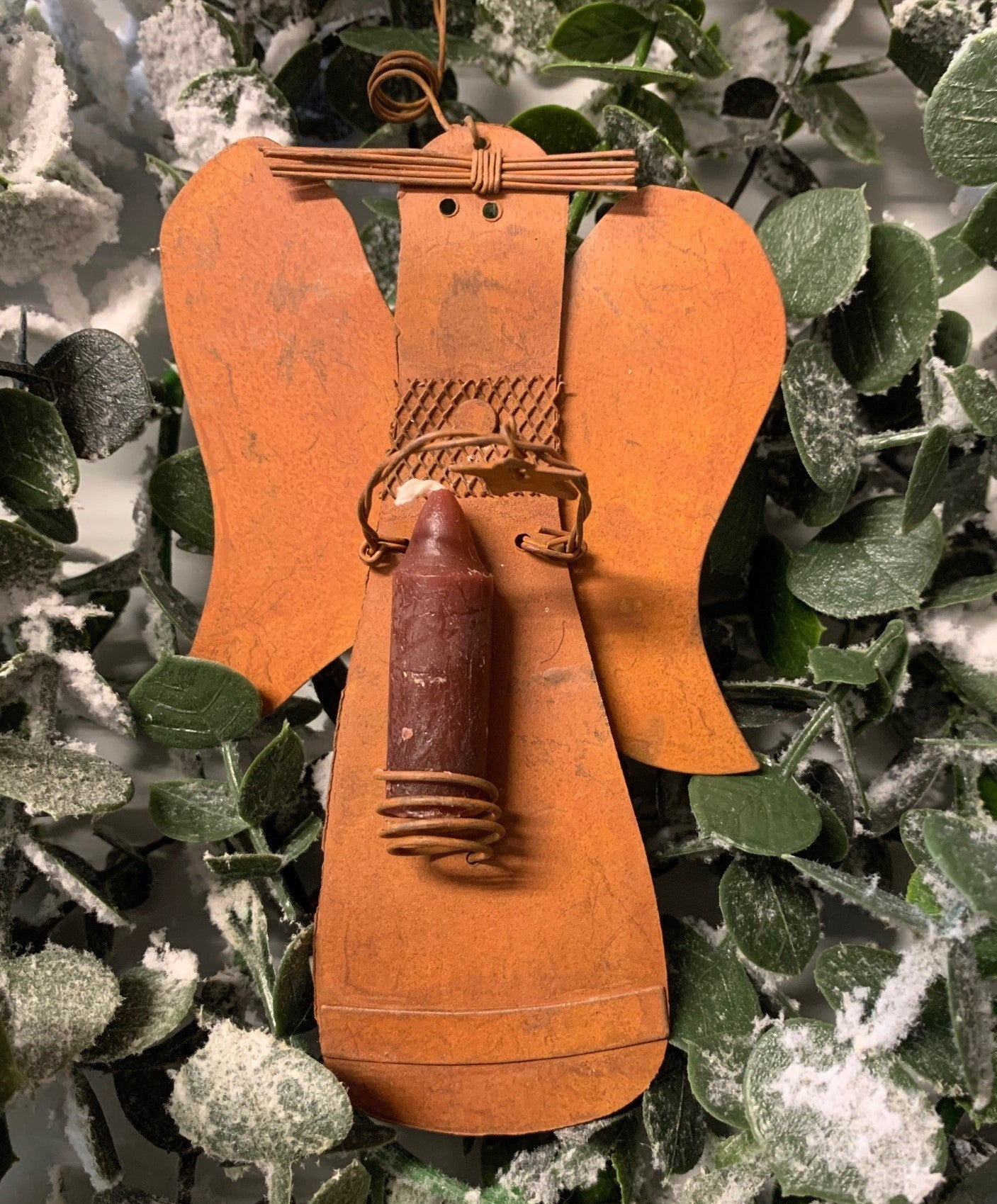 "6"" Rusty Angel Ornament with candle"