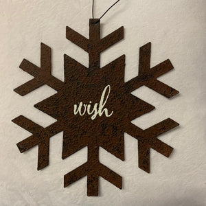 "7"" Rusty Metal Snowflake Ornament"