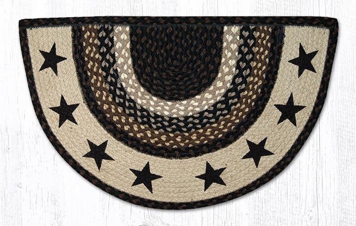 "Black Stars Braided Slice Rug 18"" x 29"""