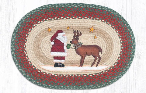 "Santa & Reindeer Braided Oval Braided Rug 20""x30"""