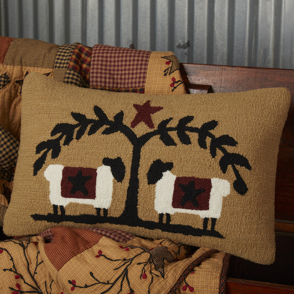 Heritage Farms Sheep & Star Hooked Cushion 14x22""
