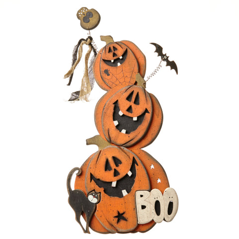 Standing Wooden Pumpkin Boo Halloween Sign