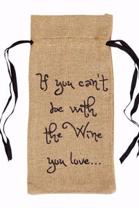 Burlap 'Love the Wine You're With' Wine Giftbag