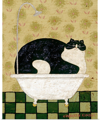 "Warren Kimble ""Cat in a Hot Tin Tub"" Print 16""x20"""
