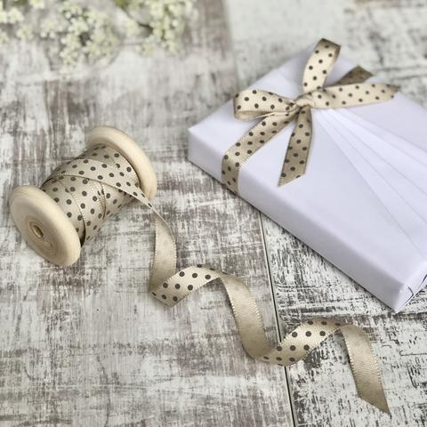 Cream and Grey Spotty Ribbon, 3 Metres