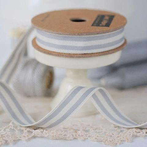 Pale Grey & Off-White Stitched Ribbon, 3 Metres