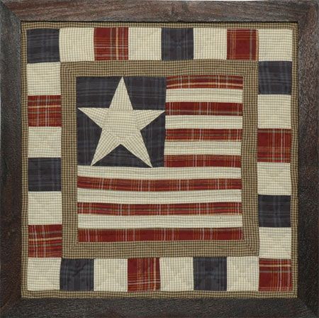 Framed Quilt Block Wall Art - Stars and Stripes