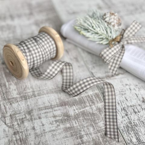 Grey Gingham Ribbon, 3 Metres
