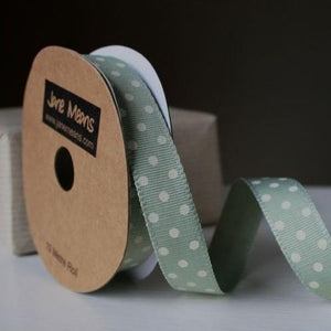 Sage & Cream Spotty Ribbon, 3m Roll