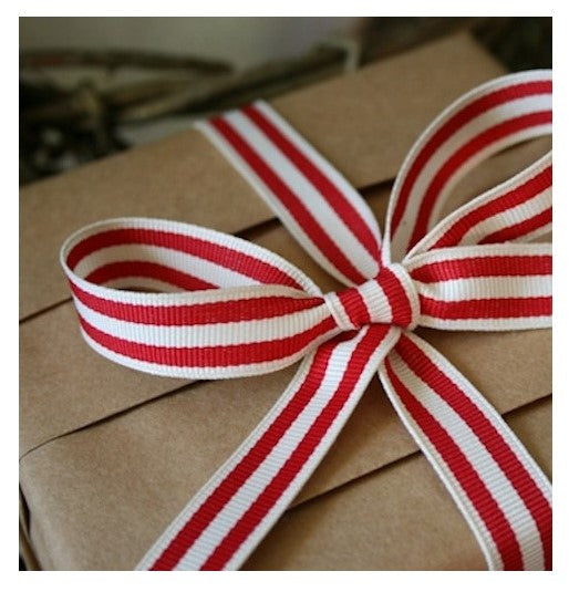 Red & White Striped Ribbon, 3 Metres