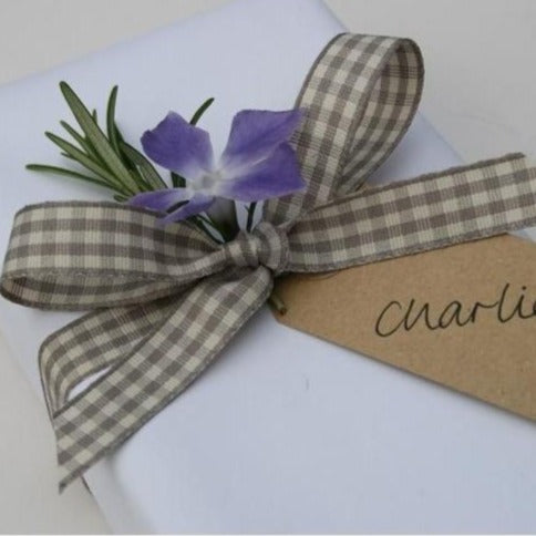 3m Ribbon, Grey Gingham