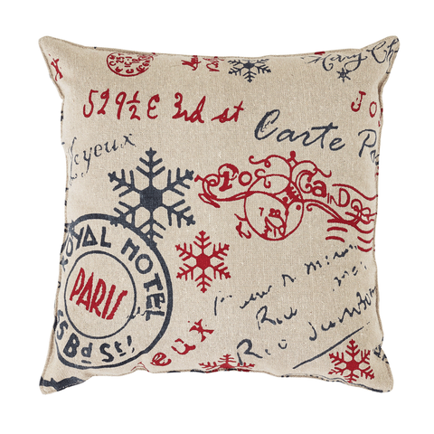 'Joyeux Noel' Cotton Chambray Cushion, 12x12""
