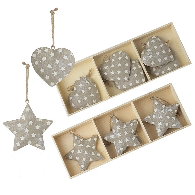 Set of 6 Hanging Metal Hearts or Stars