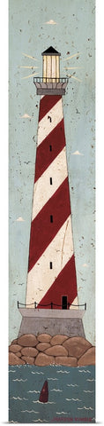 "Warren Kimble ""Nautical Lighthouse Red & White"" Print 10""x48"""