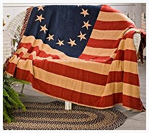'Old Glory' American Flag Design Woven Throw