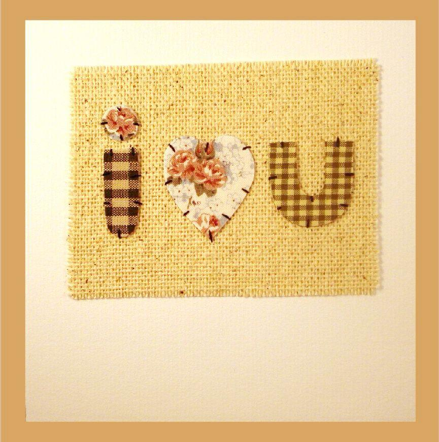 Patchwork  'I Love You' Heart Card