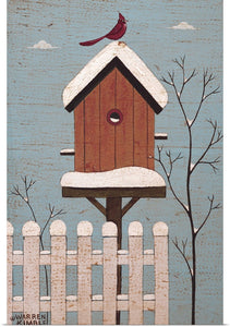 "Warren Kimble ""Red Winter Bird House"" Print 16""x24"""
