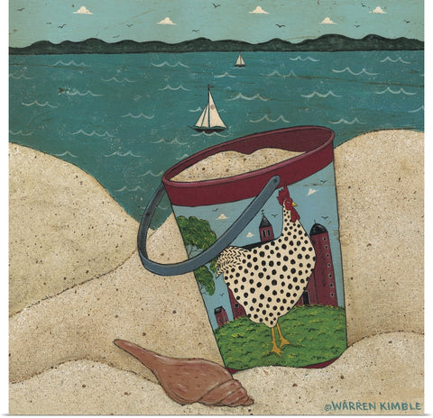 "Warren Kimble ""Sandpail - Dotty By The Sea"" Print 16""x16"""