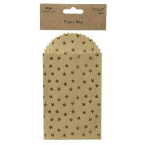Set of 6 Gold Star Envelopes / Giftbags